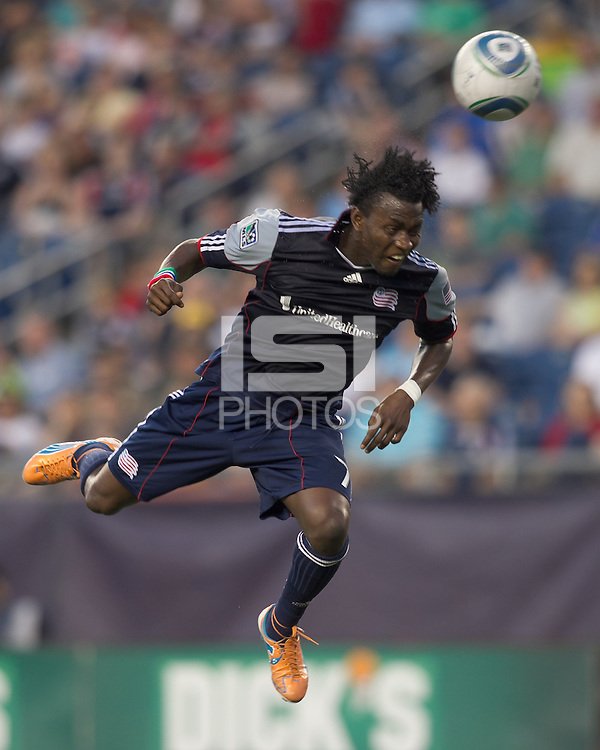 New England Revolution forward Kenny Mansally (7) head ball misses the mark. In a Major League Soccer (MLS) match, the New England Revolution tied the Chicago Fire, 1-1, at Gillette Stadium on June 18, 2011.