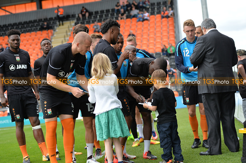 Barnet players sign autographs for young fans during Barnet vs Luton Town, Sky Bet EFL League 2 Football at the Hive Stadium on 12th August 2017
