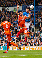 Shrewsbury Town's Luke Waterfall (left) battles with Portsmouth's Oliver Hawkins (right) <br /> <br /> Photographer David Horton/CameraSport<br /> <br /> The EFL Sky Bet League One - Portsmouth v Shrewsbury Town - Saturday September 8th 2018 - Fratton Park - Portsmouth<br /> <br /> World Copyright &copy; 2018 CameraSport. All rights reserved. 43 Linden Ave. Countesthorpe. Leicester. England. LE8 5PG - Tel: +44 (0) 116 277 4147 - admin@camerasport.com - www.camerasport.com