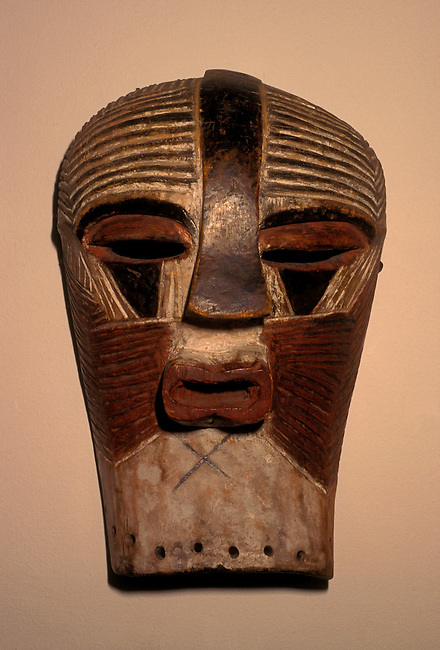 Mask (dance), wood, 41x25x18 cm, Basonge culture, Zaire and Congo, at National Gallery, Harare, Zimbabwe, Africa