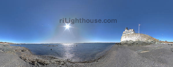 A panoramic photo of Rose Island Lighthouse.