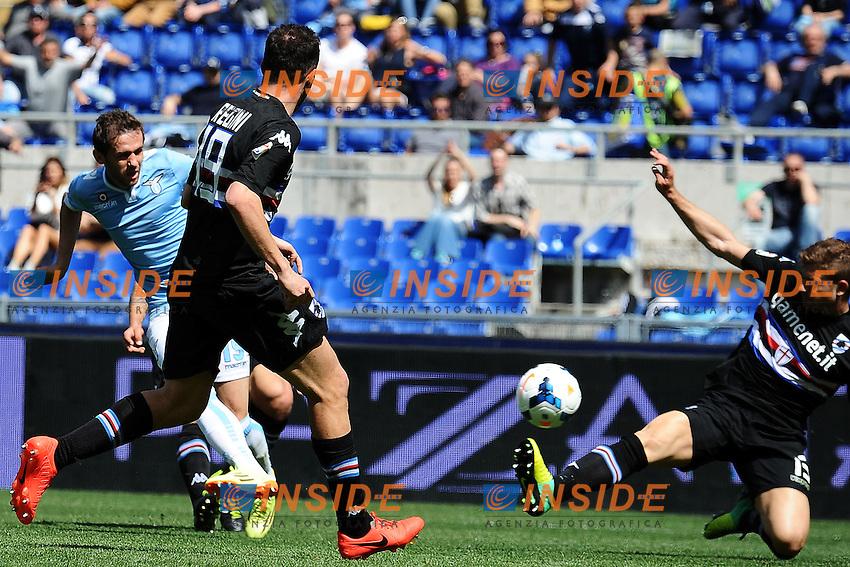 Gol Senad Lulic Lazio Goal celebration <br /> Roma 06-04-2014 Stadio Olimpico - Football Calcio 2013/2014 Serie A, Lazio - Sampdoria, Foto Andrea Staccioli / Insidefoto