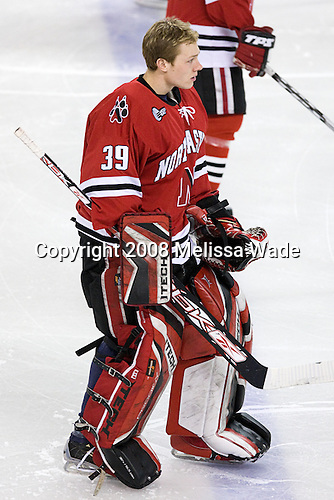 Brad Thiessen (NU - 39) - The Northeastern University Huskies defeated the Boston College Eagles 3-2 in overtime on BC's senior night, Friday, March 7, 2008, at Conte Form in Chestnut Hill, Massachusetts.