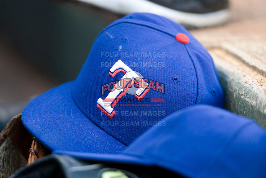Texas Rangers hat at the Rangers Ballpark in Arlington, Texas on July 27, 2011. (Andrew Woolley/Four Seam Images)