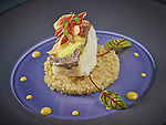 Th&ocirc;nex, le 16 f&eacute;vrier 2017, Restaurant le Cigalon, Jean Marc Bessire avec sa p&acirc;tissi&egrave;re Denise nous pr&eacute;sentent une diversit&eacute; de plats en poisson et chocolat , ICI Pav&eacute; de cabillaud &laquo;&nbsp;Skre&iuml; de Norv&egrave;ge&nbsp;&raquo; r&ocirc;ti sur peau<br /> Quinoa et curry jaune<br /> &copy; sedrik nemeth