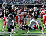 Oakland Raiders vs. Kansas City Chiefs at Oakland Alameda County Coliseum Sunday, November 5, 2000.  Raiders beat Chiefs  49-31.  Oakland Raiders full back Zack Crockett (32) and tackle Lincoln Kennedy (72) celebrates touchdown.