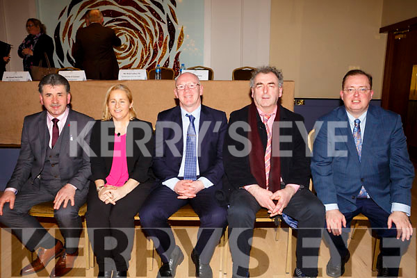 John Brasil TD seated centre was elected by vote at the Kerry Fianna Fail Comhairle Dail Ceantair to contest the next General Election at their convention in the Ballygarry House Hotel on Sunday night last. Seated l to r, Cllr Michael O'Shea, Cllr Norma Moriarthy, John Brasil TD, Cllr. Michael Cahill and Tommy McEllistrim