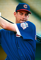 Brooks Kieschnick of the Chicago Cubs during a game at Dodger Stadium in Los Angeles, California during the 1997 season.(Larry Goren/Four Seam Images)