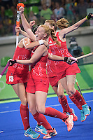 Team GB Hockey Team win gold at Rio Olympics. White celebrates Team GB third goal. <br /> Rio de Janeiro, Brazil on August 19, 2016.<br /> CAP/CAM<br /> &copy;Andre Camara/Capital Pictures /MediaPunch ***NORTH AND SOUTH AMERICAS ONLY***