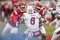 Hawgs Illustrated/BEN GOFF <br /> Santos Ramirez (9), Arkansas strong safety, and Henre' Toliver, Arkansas cornerback, tackle Kylin Hill, Mississippi State running back, in the second quarter Saturday, Nov. 18, 2017, at Reynolds Razorback Stadium in Fayetteville.