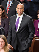 United States Senator Cory Booker (Democrat of New Jersey) waits for the arrival of US President Barack Obama to deliver his final State of the Union Address in the US House Chamber in the US Capitol on Tuesday, January 12, 2016.<br /> Credit: Ron Sachs / CNP<br /> (RESTRICTION: NO New York or New Jersey Newspapers or newspapers within a 75 mile radius of New York City)