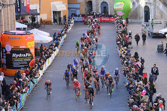Riders cross the finish line at the end of Stage 5 of the 2017 Tirreno Adriatico running 210km from Rieti to Fermo, Italy. 12th March 2017.<br /> Picture: La Presse/Gian Mattia D'Alberto | Cyclefile<br /> <br /> <br /> All photos usage must carry mandatory copyright credit (&copy; Cyclefile | La Presse)