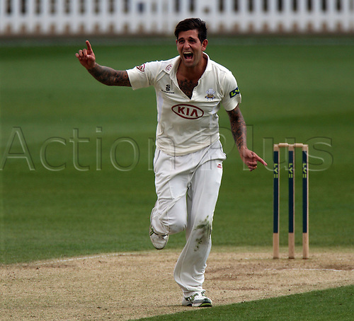 25.04.2013 London, England. Jade Dernbach of Surrey CCC claims LBW not given during the LV Country Championship Division One game between Surrey and Sussex from the Kia Oval.