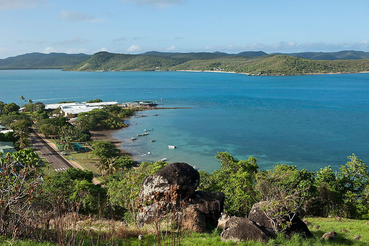 View of Bach Beach with Prince of Wales Island (Muralug) in the background.  Thursday Island, Torres Strait Islands, Queensland, Australia