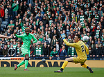 Moussa Dembele scores his second and Celtic's fourth goal past Hibs keeper Ross Laidlaw