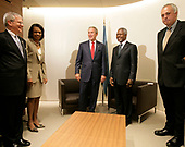 In this photo released by the White House, United States President George W. Bush stands with Kofi Annan, Secretary-General of the United Nations, after the President's arrival Tuesday, September 19, 2006, to the U.N. in New York. With them are from left: Josh Bolten, White House Chief of Staff; Condoleezza Rice, Secretary of State, and Mark Malloch Brown, Deputy Secretary-General of the U.N. <br /> Mandatory Credit: Eric Draper / White House via CNP
