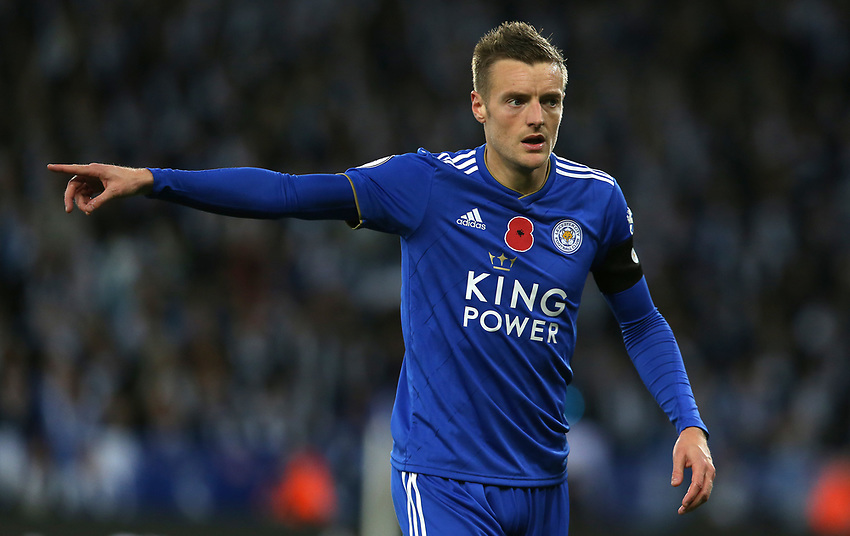 Photographer Stephen White/CameraSport<br /> <br /> The Premier League - Saturday 10th November 2018 - Leicester City v Burnley - King Power Stadium - Leicester<br /> <br /> World Copyright © 2018 CameraSport. All rights reserved. 43 Linden Ave. Countesthorpe. Leicester. England. LE8 5PG - Tel: +44 (0) 116 277 4147 - admin@camerasport.com - www.camerasport.comLeicester City's Jamie Vardy<br /> <br /> Photographer Stephen White/CameraSport<br /> <br /> The Premier League - Saturday 10th November 2018 - Leicester City v Burnley - King Power Stadium - Leicester<br /> <br /> World Copyright © 2018 CameraSport. All rights reserved. 43 Linden Ave. Countesthorpe. Leicester. England. LE8 5PG - Tel: +44 (0) 116 277 4147 - admin@camerasport.com - www.camerasport.com