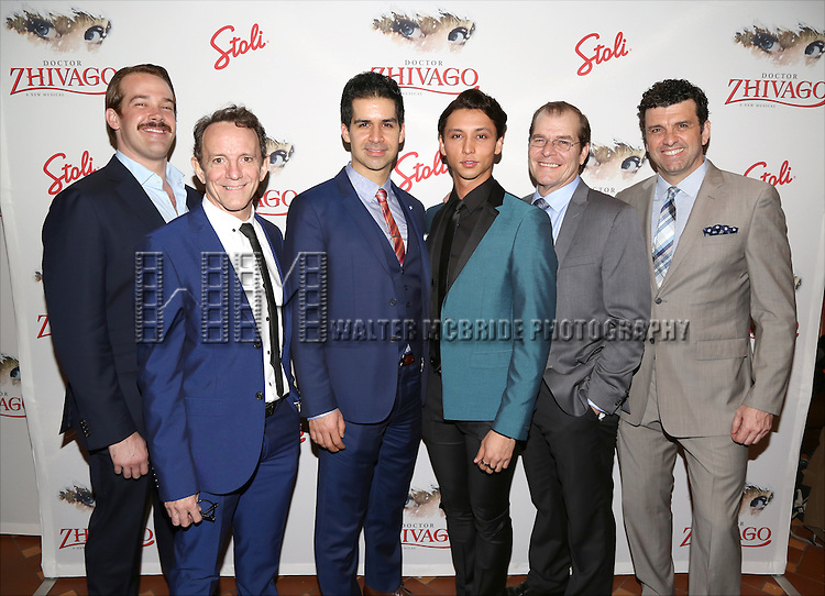 Jacob Smith, Michael Brian, Denis Lambert, Julian Cihi, David McDonald and Bradley Dean attends the Broadway Opening Night After Party for 'Doctor Zhivago' at Rockefeller Center on April 21, 2015 in New York City.