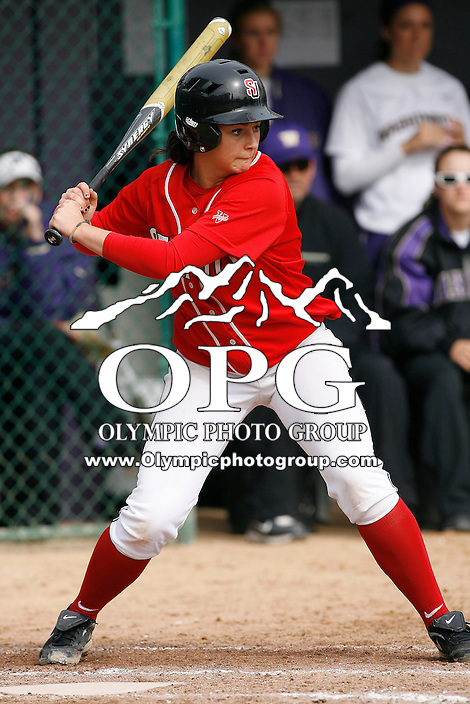 14 March 2010:  Seattle University first baseman Hannah Klein sets up in the batters box against Washington. Washington defeated Seattle University 8-3 at Husky Softball Stadium in Seattle, WA.