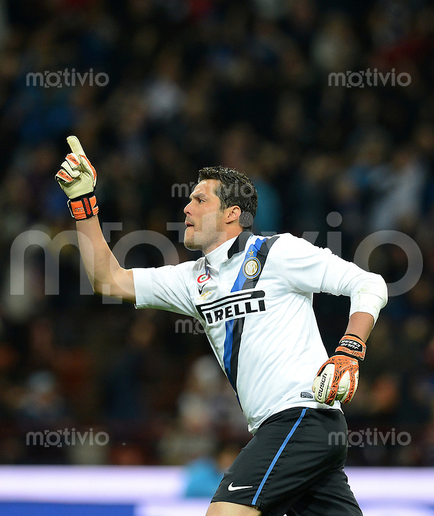 FUSSBALL INTERNATIONAL  SERIE A  SAISON  2011/2012  37.Spieltag  Inter Mailand - AC Mailand    06.05.2012 JUBEL Torwart Julio Cesar (Inter Mailand)
