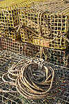 Colorful lobster traps with coiled rope