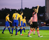 Lincoln City's Matt Rhead celebrates scoring the opening goal<br /> <br /> Photographer Chris Vaughan/CameraSport<br /> <br /> The EFL Checkatrade Trophy Group H - Lincoln City v Mansfield Town - Tuesday September 4th 2018 - Sincil Bank - Lincoln<br />  <br /> World Copyright © 2018 CameraSport. All rights reserved. 43 Linden Ave. Countesthorpe. Leicester. England. LE8 5PG - Tel: +44 (0) 116 277 4147 - admin@camerasport.com - www.camerasport.com