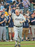 United States House Chaplain, Father Patrick J. Conroy, S.J. is introduced prior to the 56th Annual Congressional Baseball Game for Charity where the Democrats play the Republicans in a friendly game of baseball at Nationals Park in Washington, DC on Thursday, June 15, 2017.  Fr. Conroy is the first Jesuit priest to hold the position of House Chaplain. Rep. Sanchez will play in the infield. Photo Credit: Ron Sachs/CNP/AdMedia