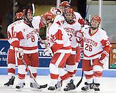 Ben Rosen (BU - 8), Kevin Shattenkirk (BU - 3), Eric Gryba (BU - 2), Ross Gaudet (BU - 22), Luke Popko (BU - 26) - The Boston University Terriers defeated the Merrimack College Warriors 6-4 on Saturday, November 14, 2009, at Agganis Arena in Boston, Massachusetts.