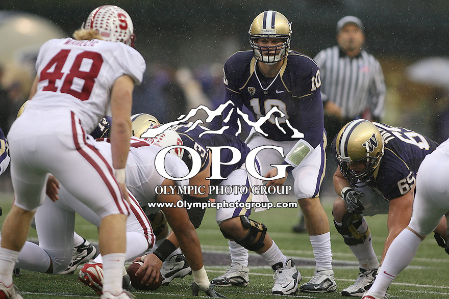 Oct 30, 20010:  Washington quarterback #10 Jake Locker sets up under center against Stanford.  Stanford defeated Washington 41-0 at Husky Stadium in Seattle, Washington.