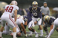Oct 30, 20010:  Washington quarterback #10 Jake Locker sets up under center against Stanford.  Stanford defeated Washington 41-0 at Husky Stadium in Seattle, Washington.