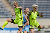 Bridgeview, IL - Sunday June 04, 2017: Jess Fishlock, Julie Johnston Ertz, Megan Rapinoe during a regular season National Women's Soccer League (NWSL) match between the Chicago Red Stars and the Seattle Reign FC at Toyota Park. The Red Stars won 1-0.