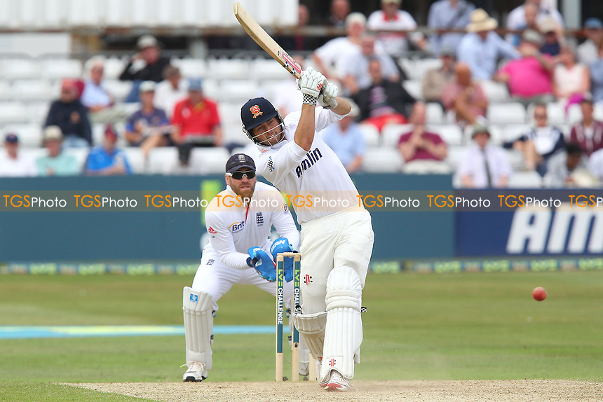 Ben Foakes of Essex hits out but is caught and bowled by Joe Root - Essex CCC vs England - LV Challenge Match at the Essex County Ground, Chelmsford - 01/07/13 - MANDATORY CREDIT: Gavin Ellis/TGSPHOTO - Self billing applies where appropriate - 0845 094 6026 - contact@tgsphoto.co.uk - NO UNPAID USE