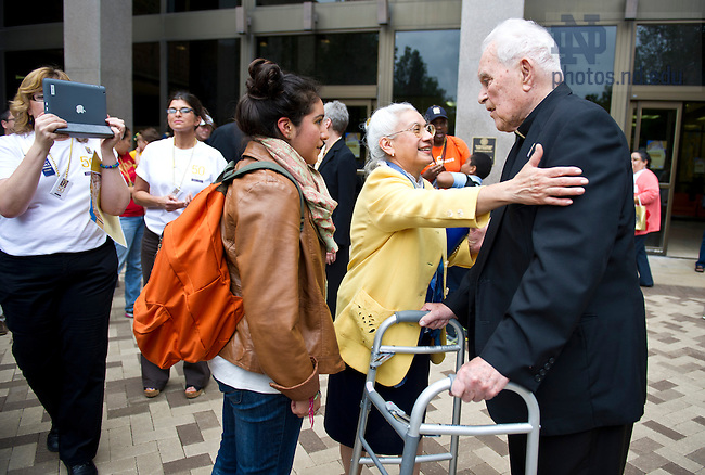Sept. 20, 2013; University President Emeritus Rev. Theodore M. Hesburgh, C.S.C. visits with guests during the Hesburgh Library 50th anniversary celebration. Photo by Barbara Johnston/University of Notre Dame