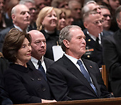 December 5, 2018 - Washington, DC, United States: Laura Bush and George W. Bush attend the state funeral service of former President George W. Bush at the National Cathedral. <br /> Credit: Chris Kleponis / Pool via CNP