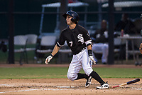 AZL White Sox second baseman Nick Madrigal (7) starts down the first base line during an Arizona League game against the AZL Athletics at Camelback Ranch on July 15, 2018 in Glendale, Arizona. The AZL White Sox defeated the AZL Athletics 2-1. (Zachary Lucy/Four Seam Images)