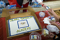 NWA Democrat-Gazette/CHARLIE KAIJO A cake bearing the emblem of the griffin, Ozark Catholic's new mascot, is shown on a cake during an open house, Sunday, March 4, 2018 at Ozark Catholic Academy in Tontitown.<br /><br />Ozark Catholic Academy, which is gearing up to open this fall, celebrated a milestone as they announced their mascot.