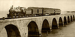H.M. Flagler's Special, first train of the Overseas Railroad crossing the Long Key viaduct, 2.7 miles on April 8, 1909, Long Key, Florida