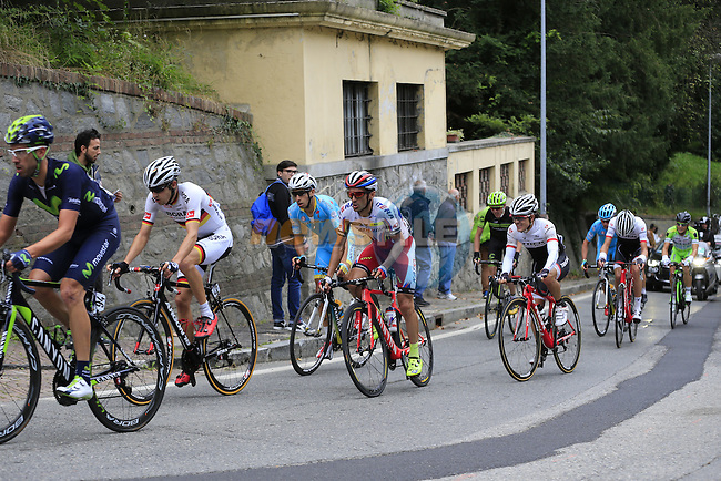 The lead group of riders tackle the final climb of Superga near the finish of the 2015 96th Milan-Turin 186km race starting at San Giuliano Milanese, Italy. 1st October 2015.<br /> Picture: Eoin Clarke | Newsfile