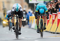 Picture by Alex Broadway/SWpix.com - 11/03/2018 - Cycling - 2018 Paris Nice - Stage Eight - Nice to Nice - David de la Cruz of Team Sky beats Omar Fraile of Astana Pro Team to win the stage.<br /> <br /> NOTE : FOR EDITORIAL USE ONLY. THIS IS A COPYRIGHT PICTURE OF ASO. A MANDATORY CREDIT IS REQUIRED WHEN USED WITH NO EXCEPTIONS to ASO/Alex Broadway MANDATORY CREDIT/BYLINE : ALEX BROADWAY/ASO