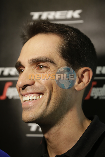 Alberto Contador (ESP) Trek-Segafredo press conference in Dusseldorf before the 104th edition of the Tour de France 2017, Dusseldorf, Germany. 30th June 2017.<br /> Picture: Eoin Clarke | Cyclefile<br /> <br /> <br /> All photos usage must carry mandatory copyright credit (&copy; Cyclefile | Eoin Clarke)