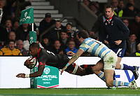 England's Semesa Rokoduguni scores his sides second try <br /> <br /> Photographer Rachel Holborn/CameraSport<br /> <br /> International Rugby Union Friendly - Old Mutual Wealth Series Autumn Internationals 2017 - England v Argentina - Saturday 11th November 2017 - Twickenham Stadium - London<br /> <br /> World Copyright &copy; 2017 CameraSport. All rights reserved. 43 Linden Ave. Countesthorpe. Leicester. England. LE8 5PG - Tel: +44 (0) 116 277 4147 - admin@camerasport.com - www.camerasport.com
