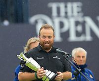 An emotional Shane Lowry (IRL) thanks his parents after winning the Championship by 6 shots at the end of Sunday's Final Round of the 148th Open Championship, Royal Portrush Golf Club, Portrush, County Antrim, Northern Ireland. 21/07/2019.<br /> Picture Eoin Clarke / Golffile.ie<br /> <br /> All photo usage must carry mandatory copyright credit (© Golffile | Eoin Clarke)