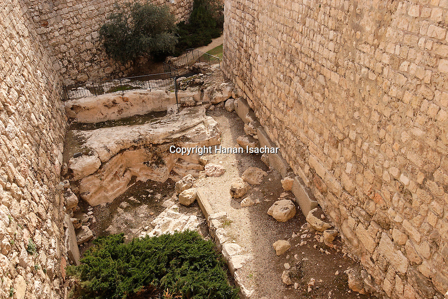 Israel, Jerusalem, The Tower of David museum at the Citadel. The moat<br />