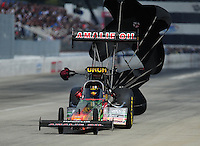 Feb. 12, 2012; Pomona, CA, USA; NHRA top fuel dragster driver Terry McMillen during the Winternationals at Auto Club Raceway at Pomona. Mandatory Credit: Mark J. Rebilas-