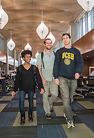 Students studying and interacting in UCSB's main library