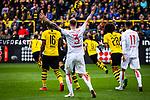 11.05.2019, Signal Iduna Park, Dortmund, GER, 1.FBL, Borussia Dortmund vs Fortuna Düsseldorf, DFL REGULATIONS PROHIBIT ANY USE OF PHOTOGRAPHS AS IMAGE SEQUENCES AND/OR QUASI-VIDEO<br /> <br /> im Bild | picture shows:<br /> Strafraumszene | Dormund klaert in hoechster Not | Andre Hoffmann (Fortuna #3) fordert Handelfmeter, <br /> <br /> Foto © nordphoto / Rauch