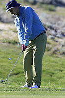 Bill Murray chips onto the 4th green at Spyglass Hill during Thursday's Round 1 of the 2018 AT&amp;T Pebble Beach Pro-Am, held over 3 courses Pebble Beach, Spyglass Hill and Monterey, California, USA. 8th February 2018.<br /> Picture: Eoin Clarke | Golffile<br /> <br /> <br /> All photos usage must carry mandatory copyright credit (&copy; Golffile | Eoin Clarke)