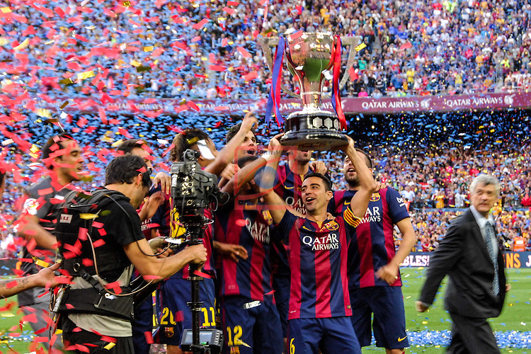League BBVA 2014/2015. Game: 38.<br /> FC Barcelona vs Deportivo: 2-2.<br /> Xavi Hernandez.