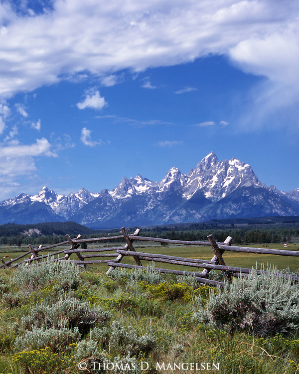 A buckrail fence backdropped by the Tetons creates a western landscape in Grand Teton National Park, Wyoming.