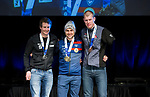 Prince George, B.-C., 16 February/2019 -  Mark Arendz (right) receives his bronze medal for finishing third in the men's middle distance standing biathlon during the Medal ceremony  at the 2019 World Para Nordic skiing Championships in Prince George, B.C. Photo Bob Frid/Canadian Paralympic Committee.